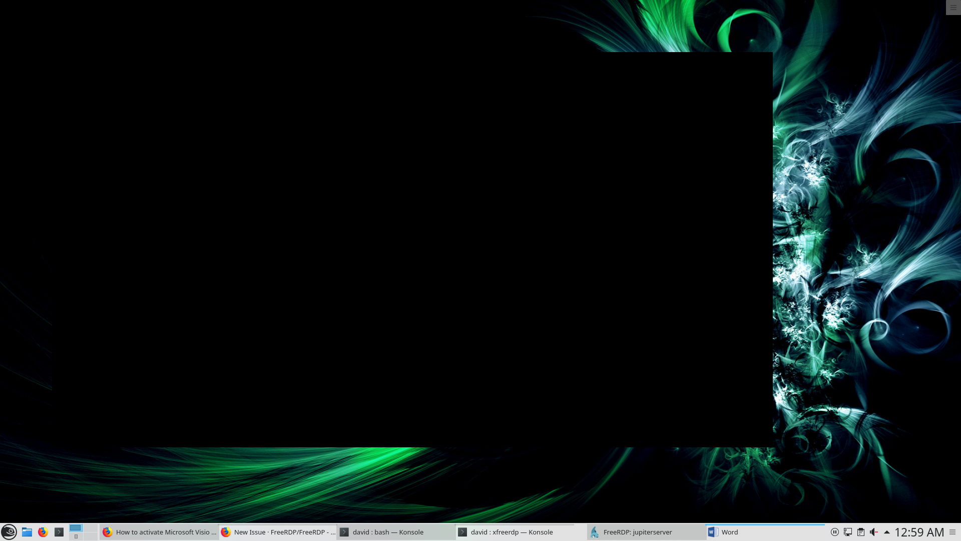 Black screen using remote apps with three monitor setup