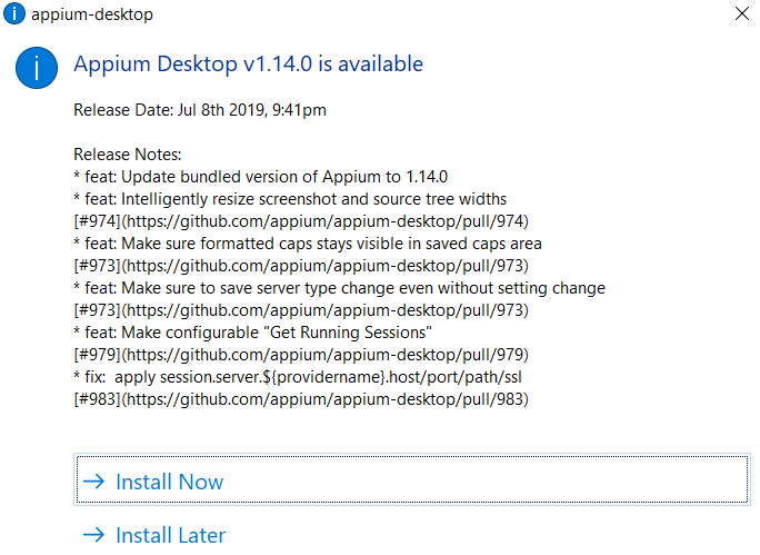 Can't update Appium Desktop to v 1 14 0 on Windows  · Issue