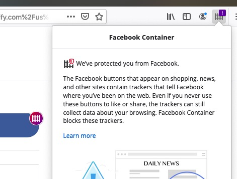 Badged the Facebook Container icon when a tracker is