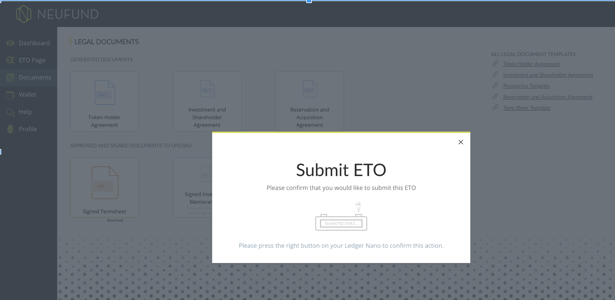 ETO FLOW - Submitting documents - Popups · Issue #2069