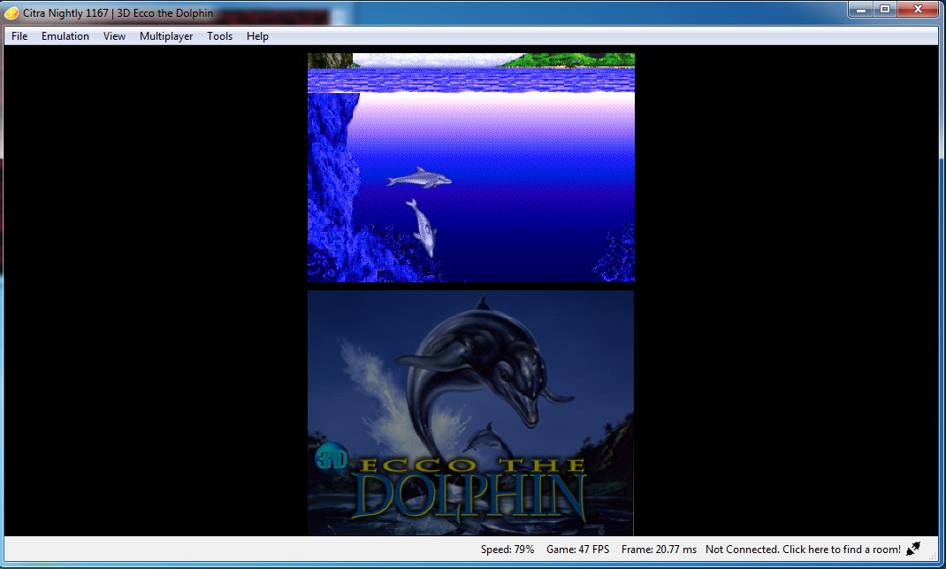 Ecco the Dolphin - Upper screen stays black during gameplay