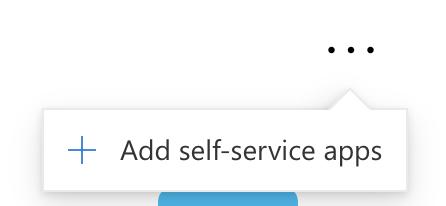 skjermbilde av myapps og alternativet for å legge til self-service apps