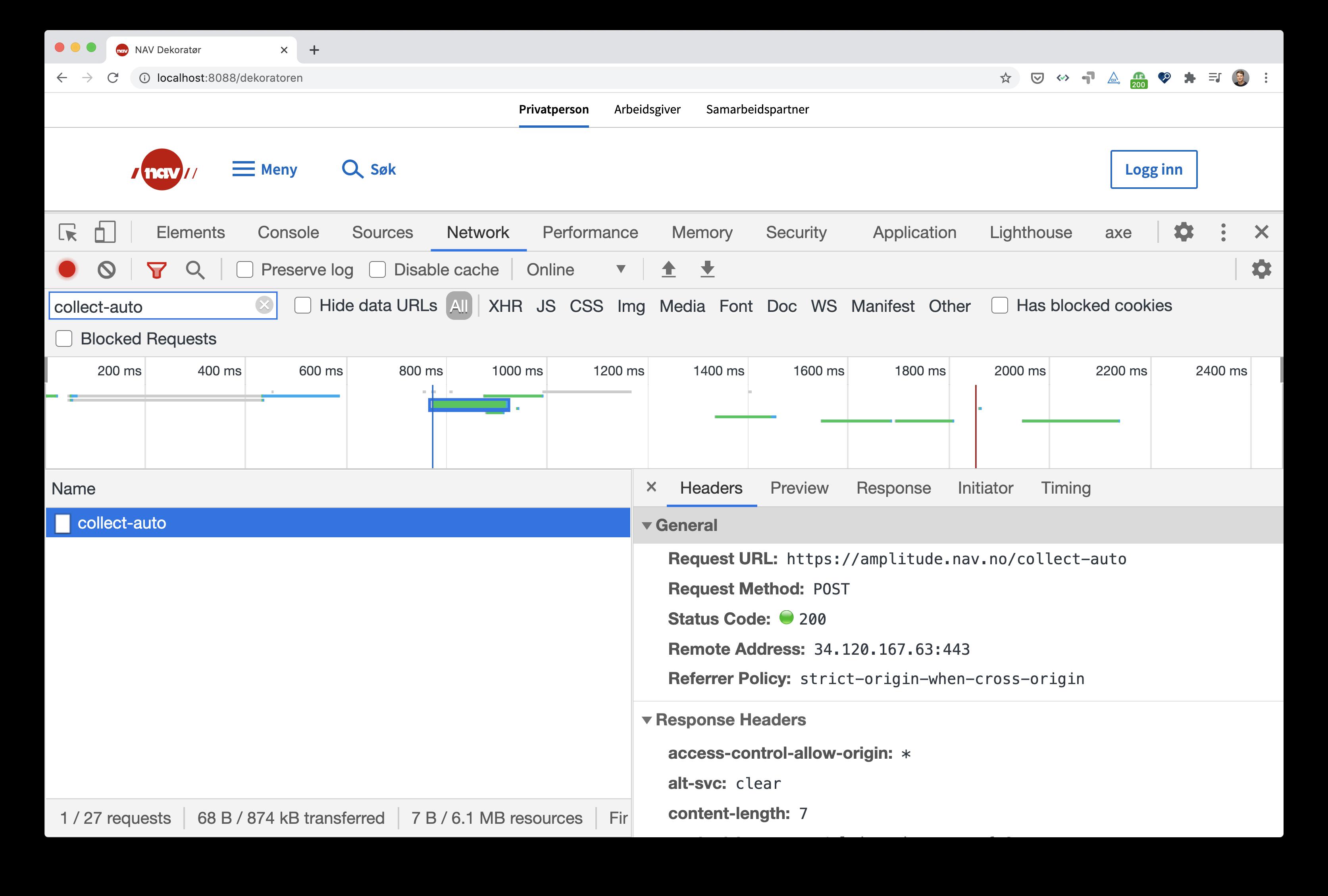 skjermbilde av developer tools med 200 OK fra amplitude