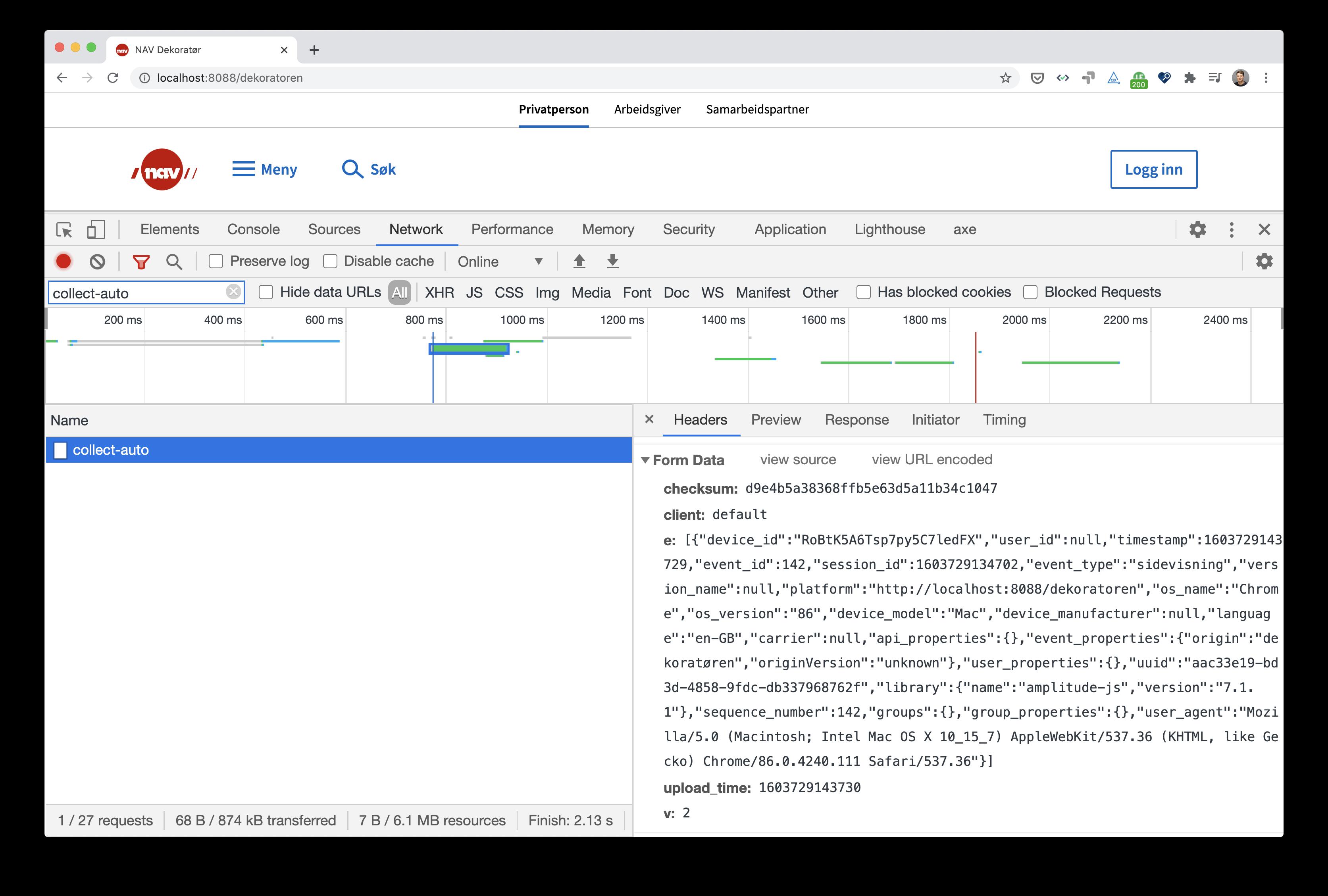skjermbilde av developer tools med data for en sidevisning