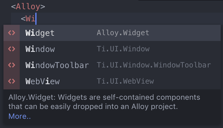Alloy markup class autocomplete