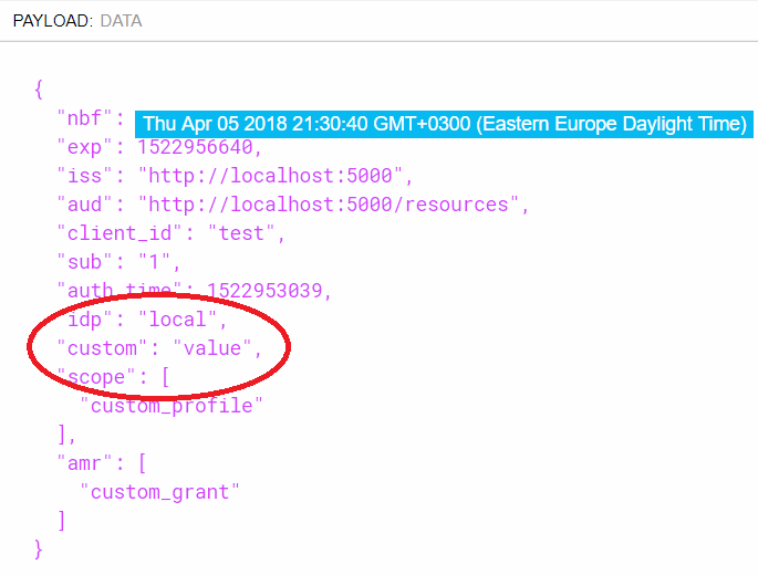 Additional claims in GrantValidatonResult not being passed to the