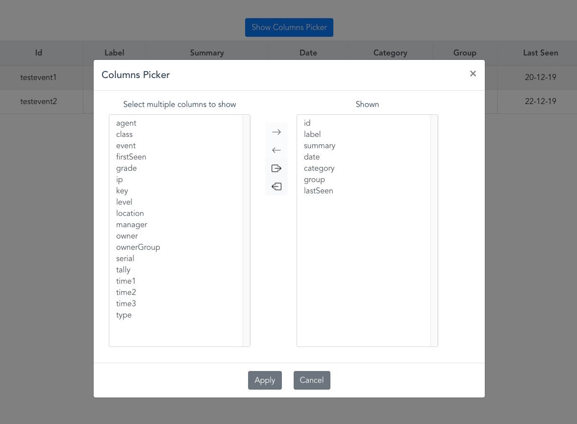 Columns picker UI screenshot