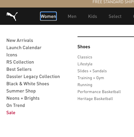 Puma homepage, the Women's category link is clicked