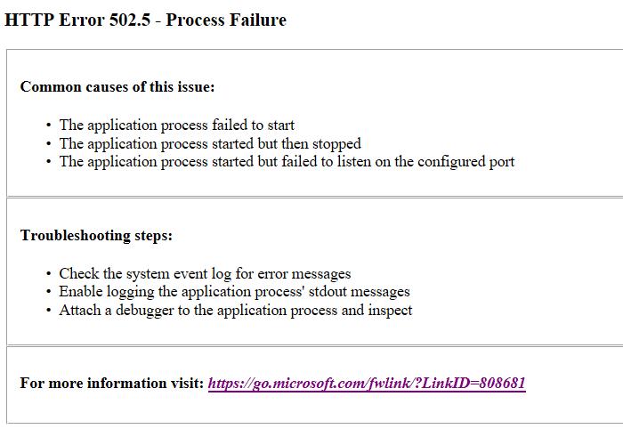 Unable to run blazor app - get 502 5 error · Issue #1342