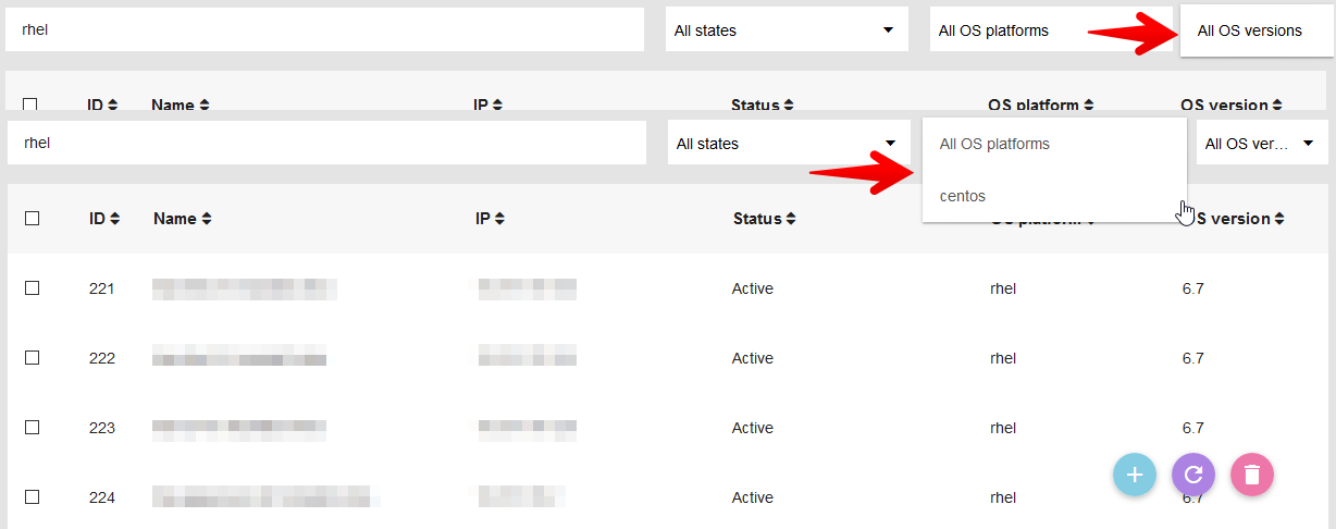 OS dropdown options on Agents Overview page are not working