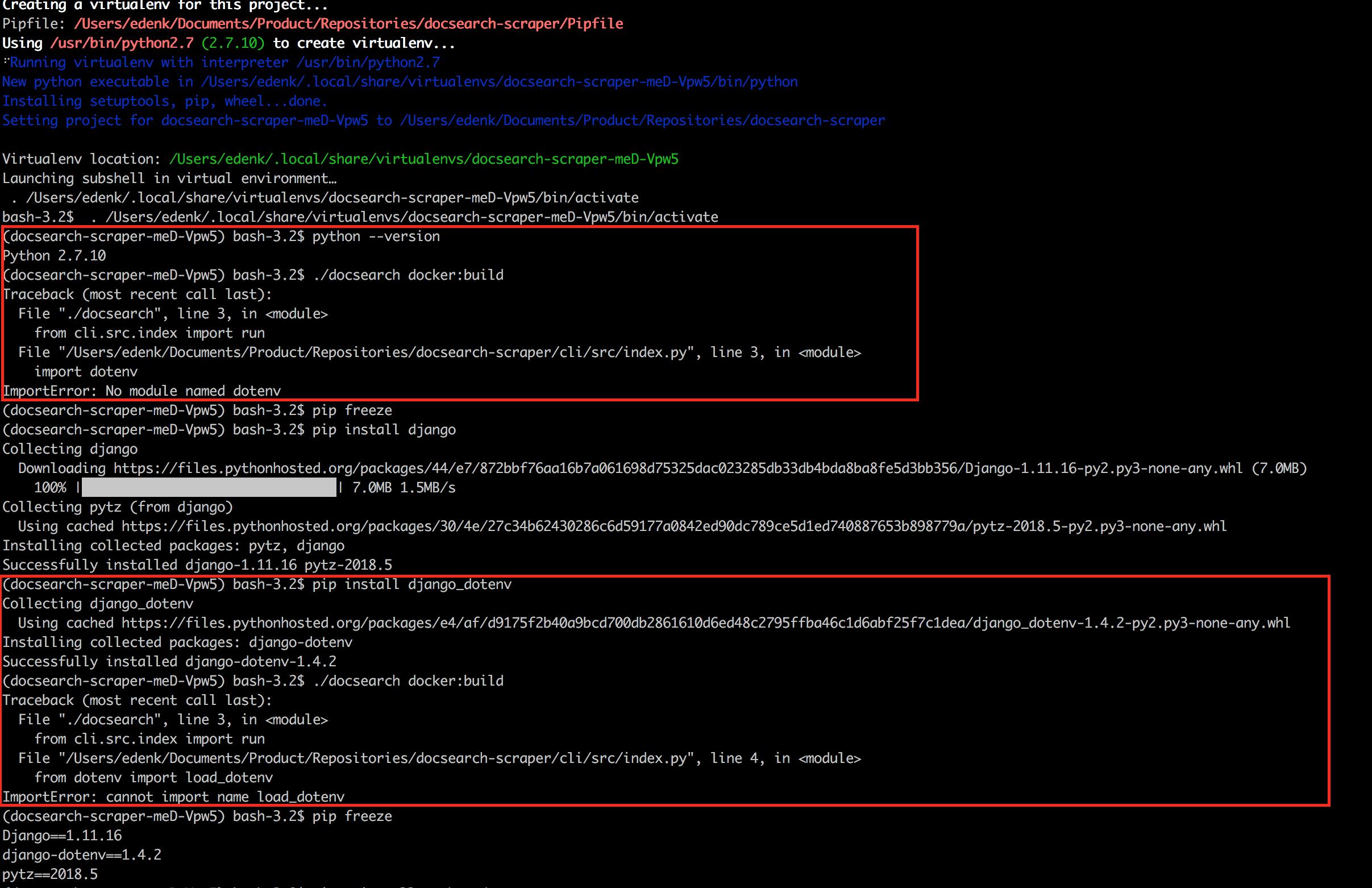 ImportError: No module named dotenv · Issue #400 · algolia