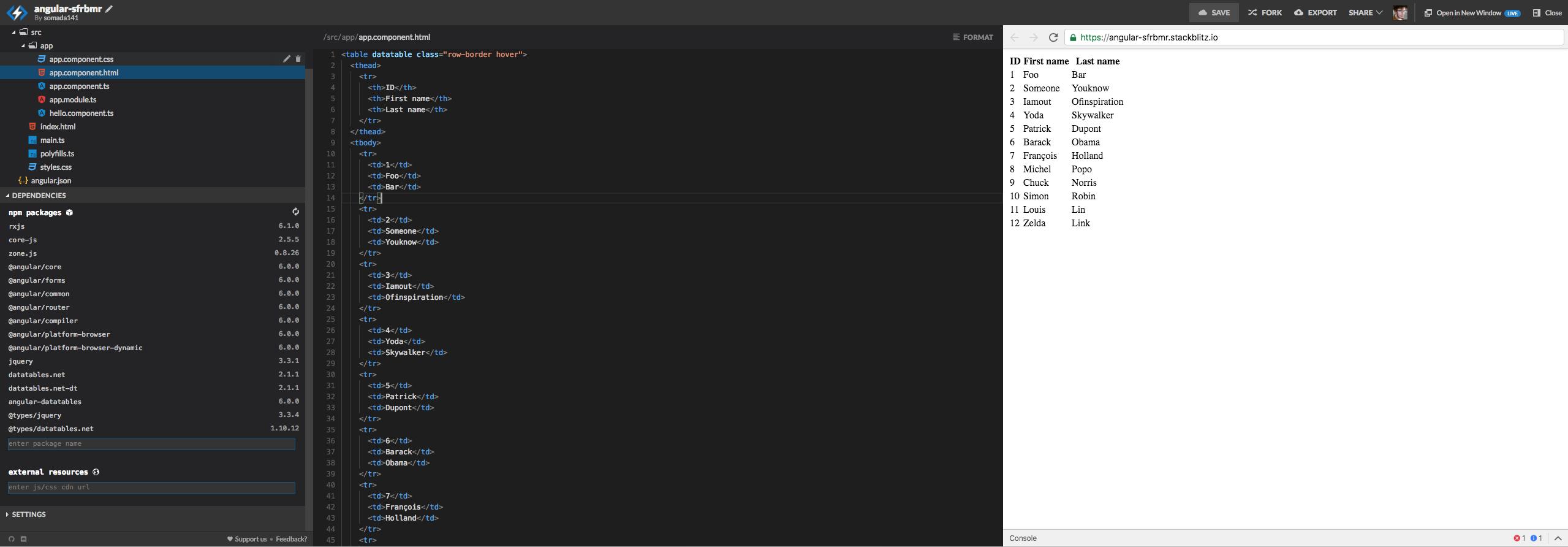 Zero-config example not working on stackblitz  Table renders as