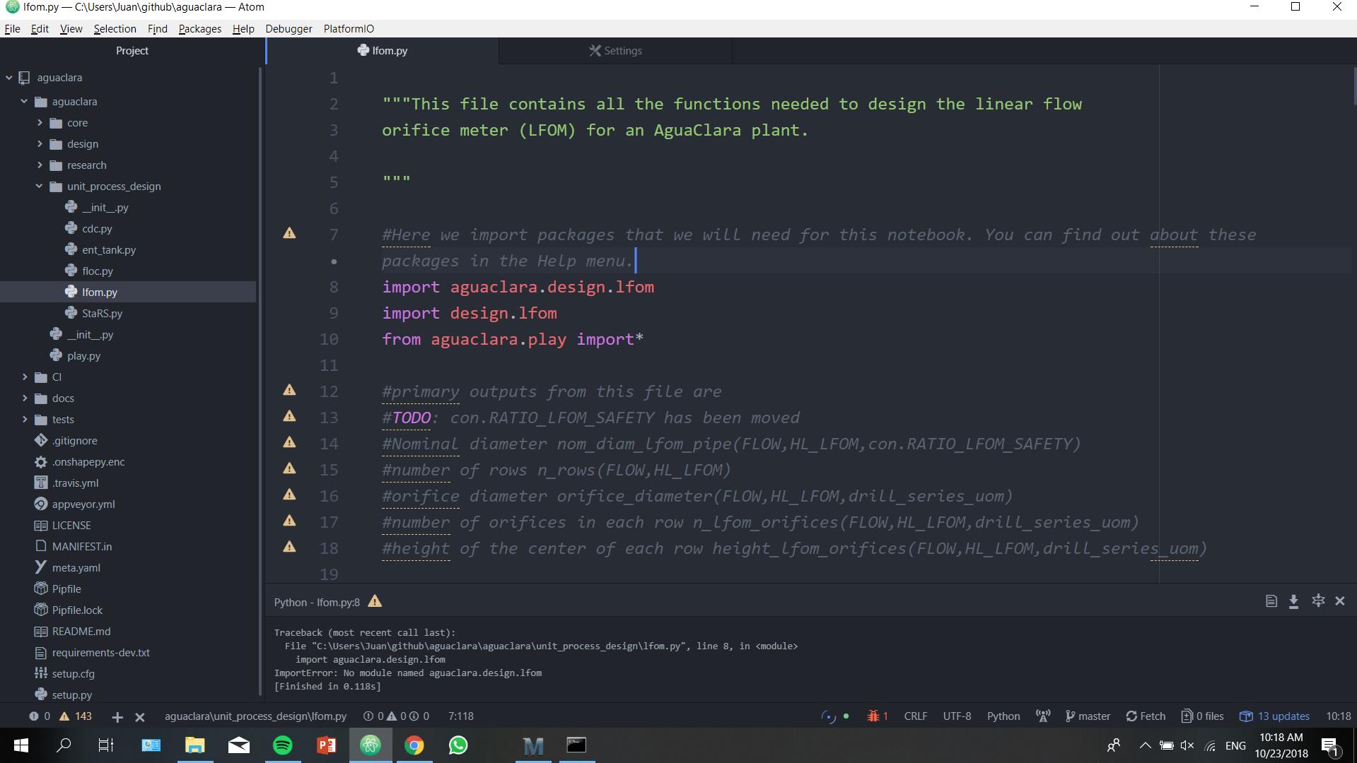 Errors in using package · Issue #102 · AguaClara/aguaclara · GitHub