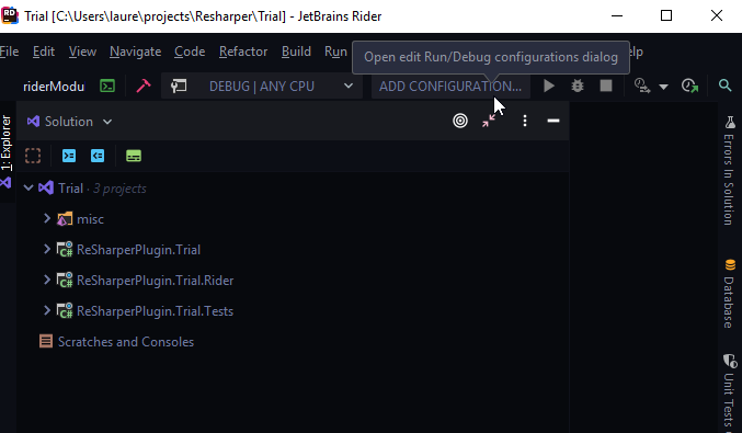 No run configurations available · Issue #10 · JetBrains/resharper