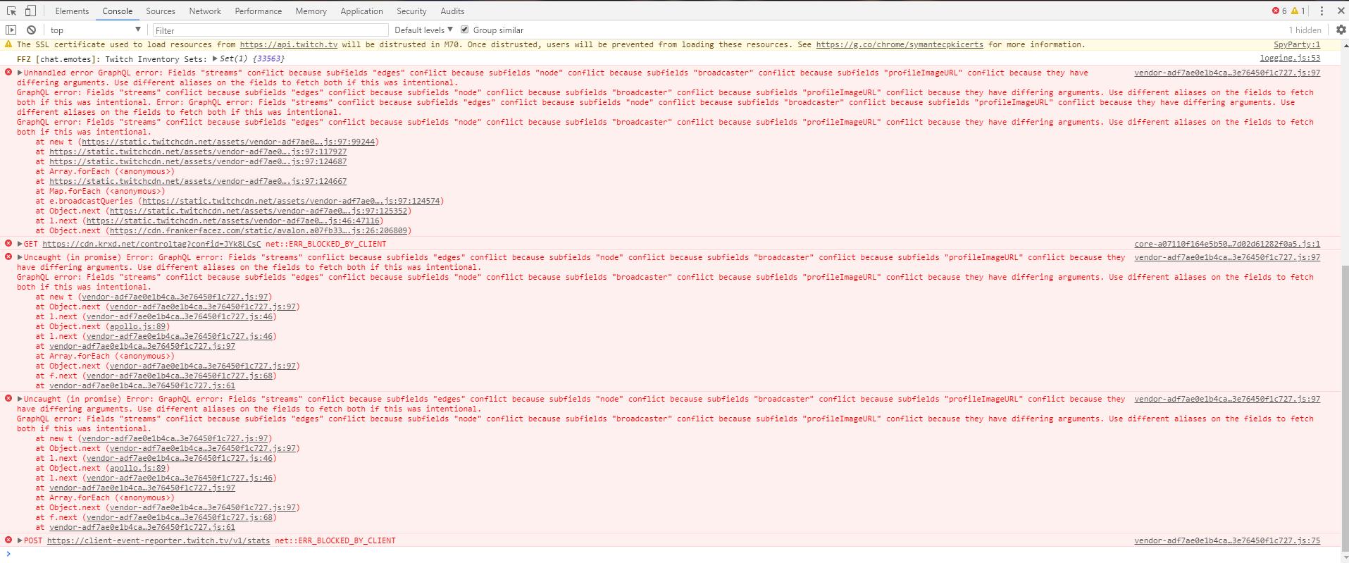 Bug] Error loading data · Issue #414 · FrankerFaceZ