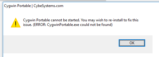 Cygwin Portable cannot be started  You may wish to re-insstall to