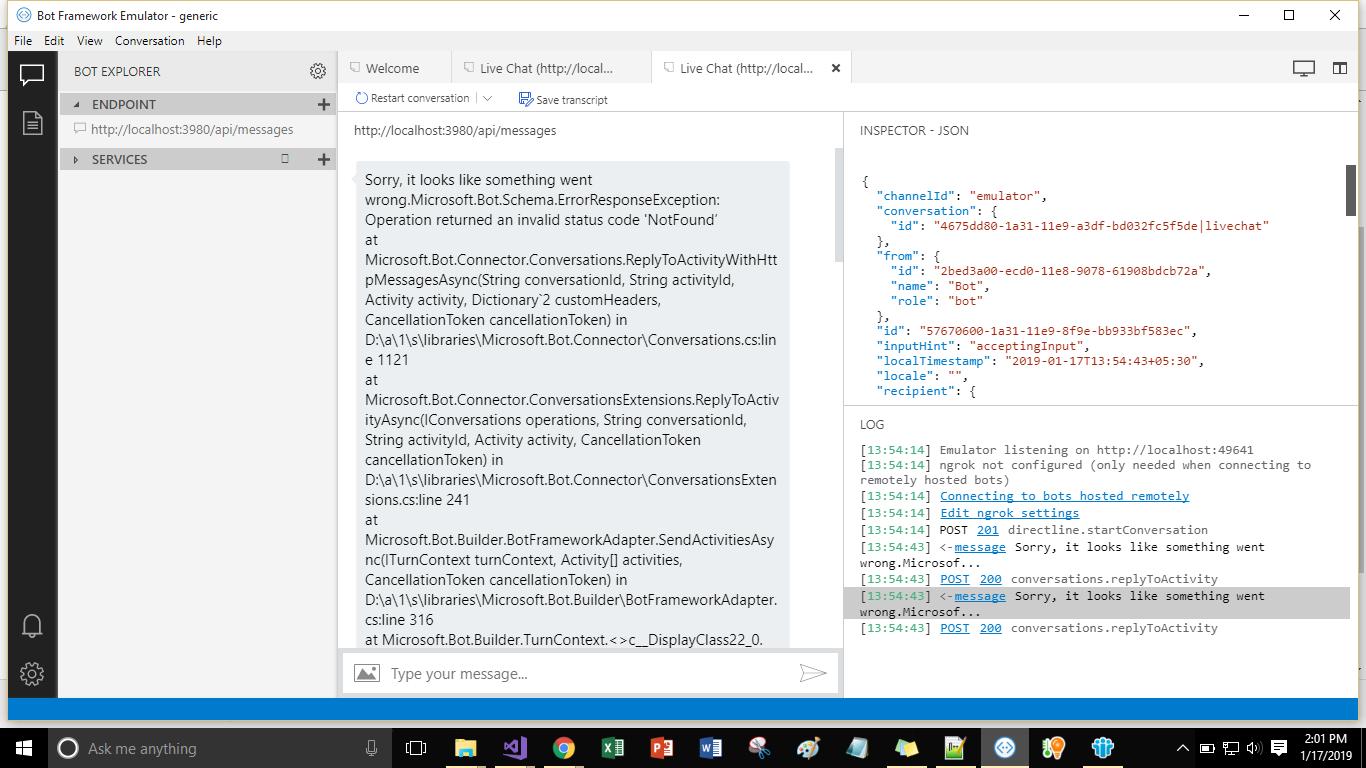 Bot Framework V4Echo Bot Template Error in Emulator · Issue