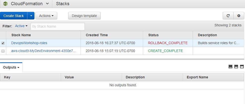 No Outputs in CloudFormation for Stack DevopsWorkshop-roles · Issue