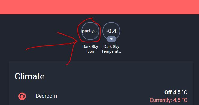 Dark Sky sensor icons seems to be missing  Only text is