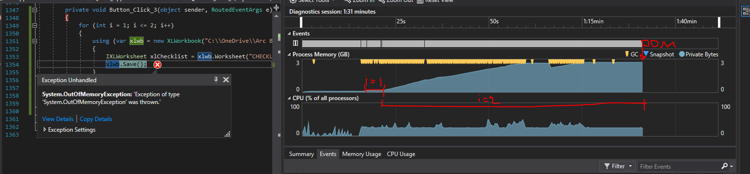 Potential Memory Leak Issues On Second Run · Issue #607 · ClosedXML