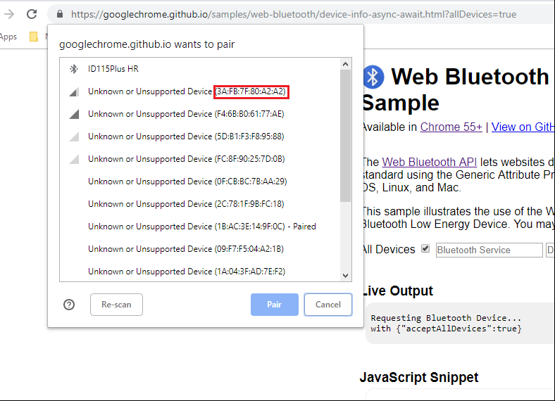 how to get MAC Address from paired Bluetooth devices using
