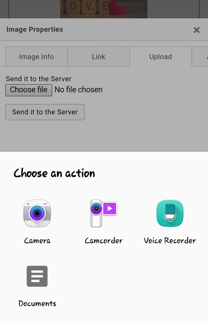 Gallery option not available in image uploads on android