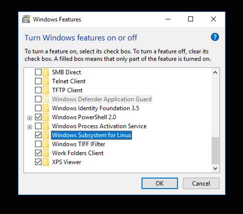 Unable to enable Windows Susbsystem Linux in the Enable