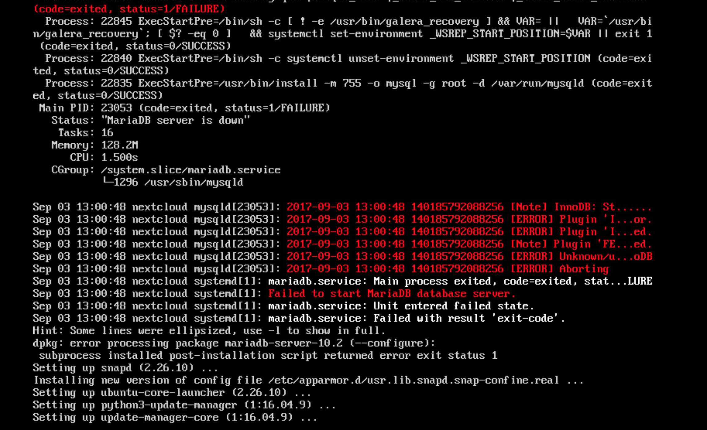 MariaDB fails to start when updated · Issue #362 · nextcloud/vm · GitHub