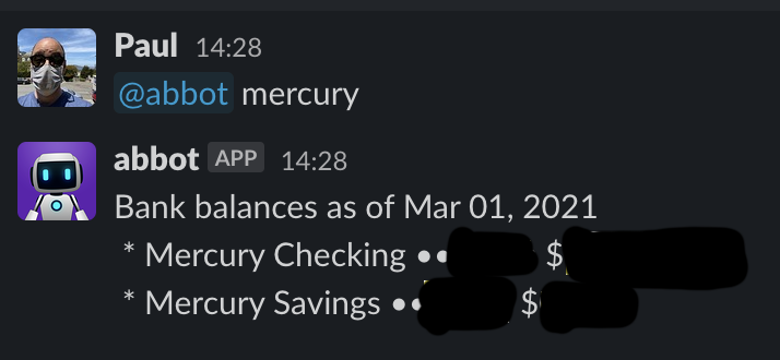Screenshot of the Mercury skill in action