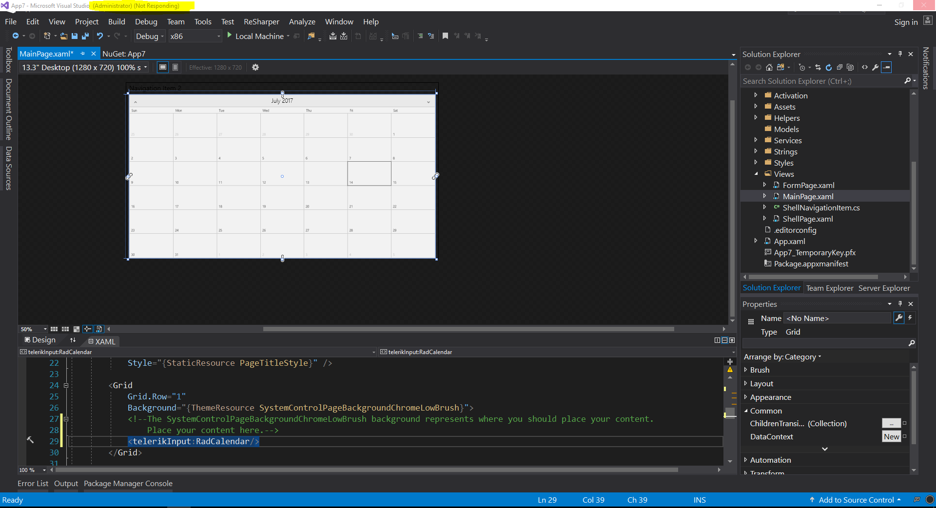Visual Studio 2017 (Not responding) with Telerik/UI