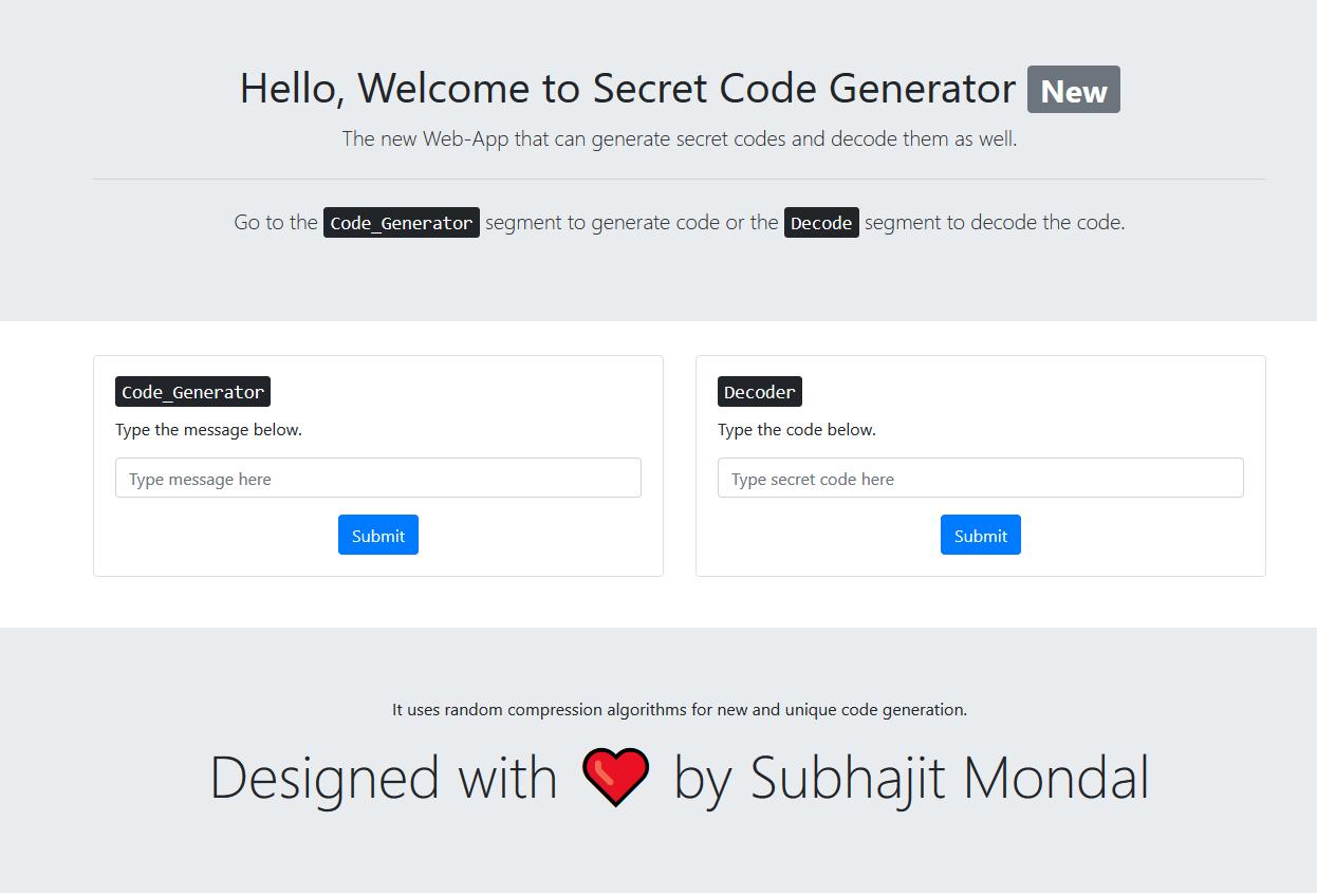 GitHub - Subhajit25Mondal/Secret-Code-Generator: Secret Code