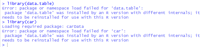 Can't use / install / update data table after moving to R