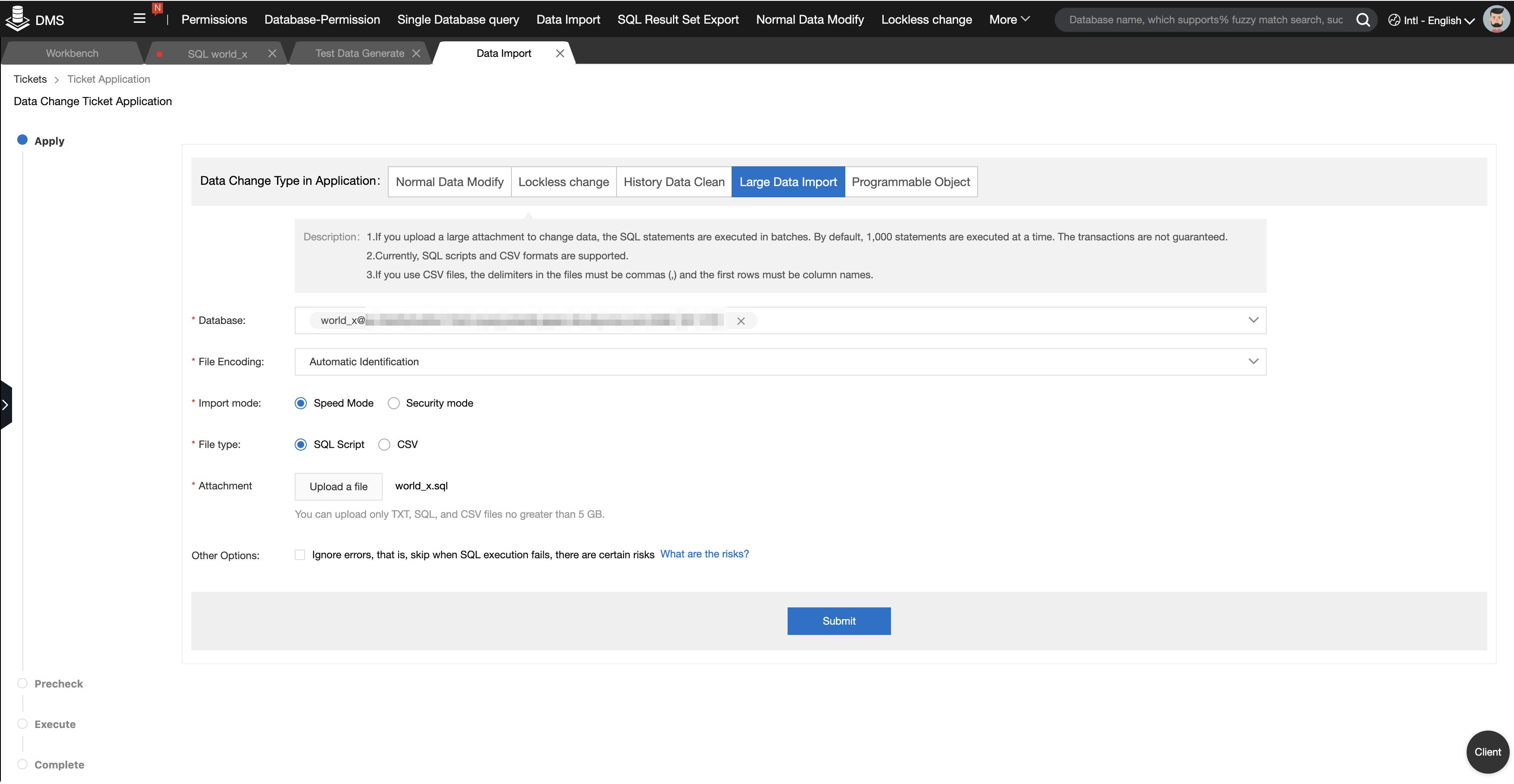 MySQL公式のサンプルデータ「world_x」を Data Management Service (DMS)を使ってインポート