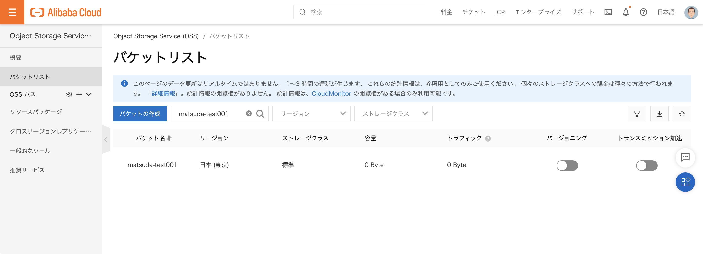 Alibaba Cloud OSS のバケットリスト