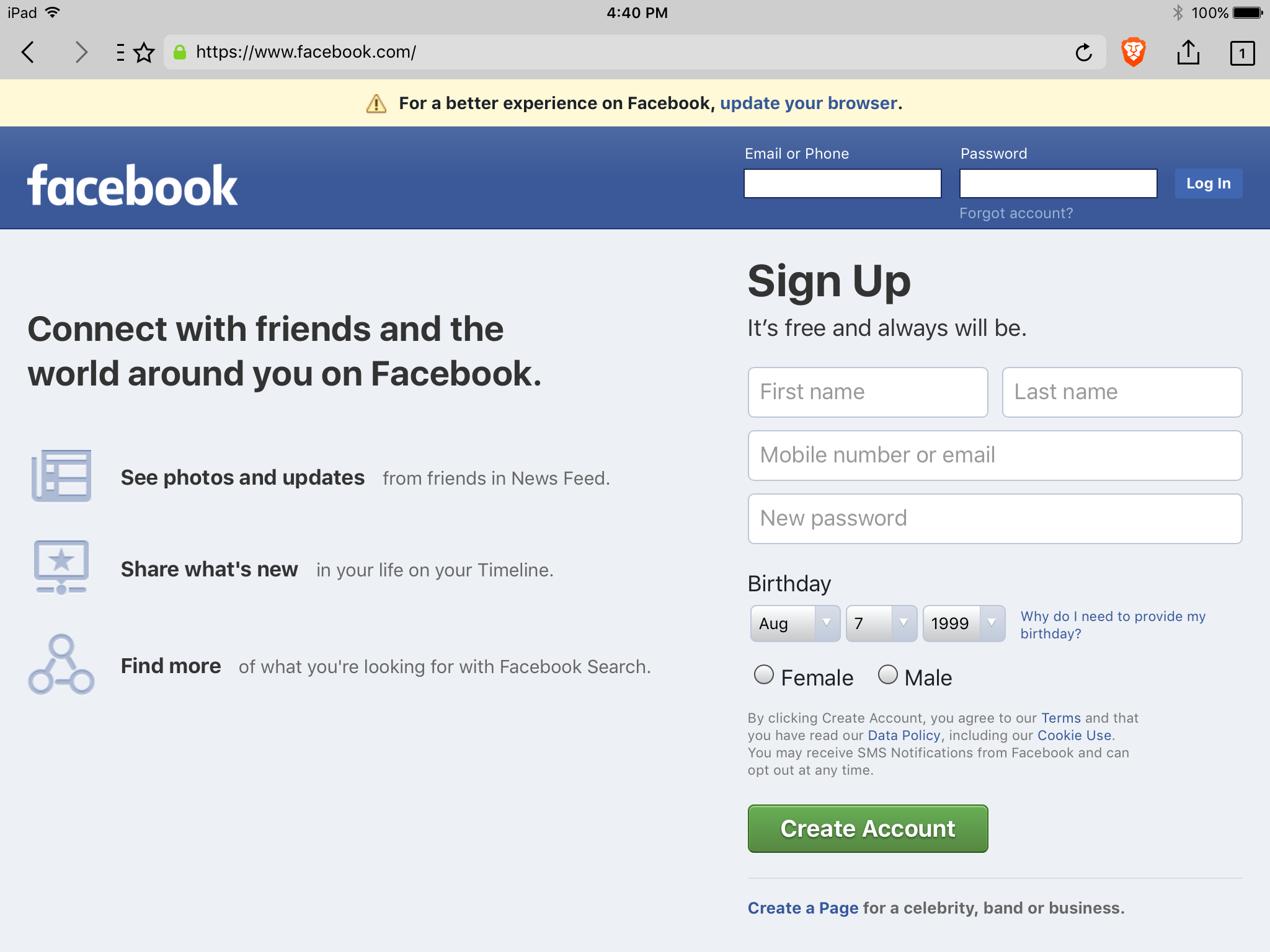 Facebook displays a warning (indicates Brave is an unsupported