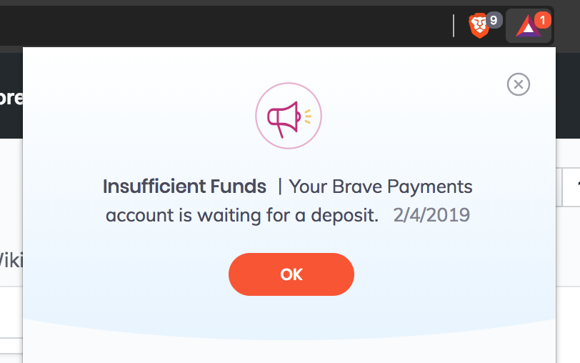 insufficient funds notification when wallet has more than