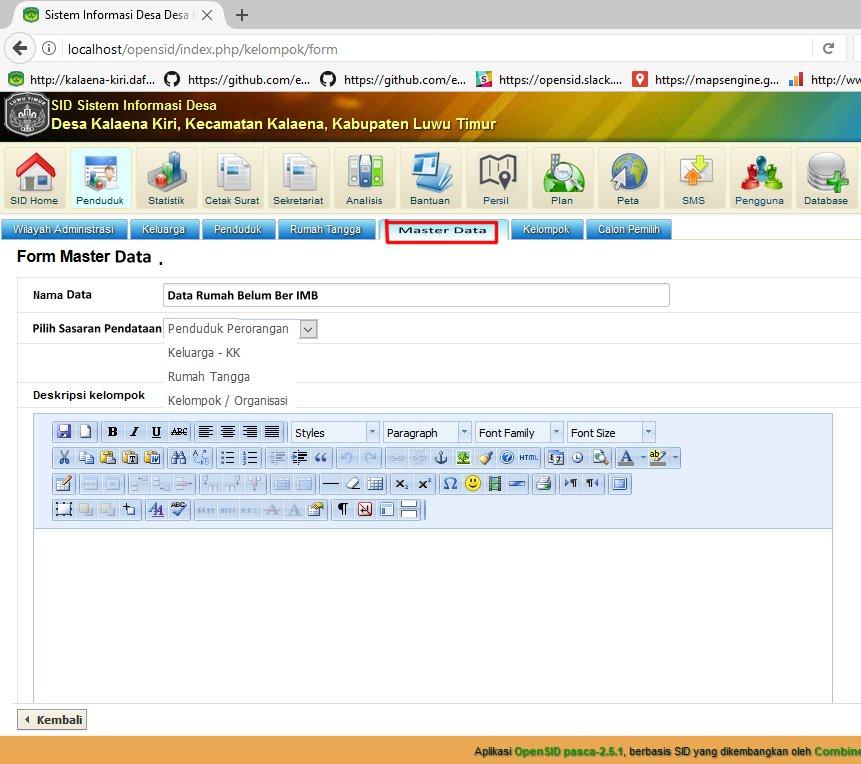 form master data