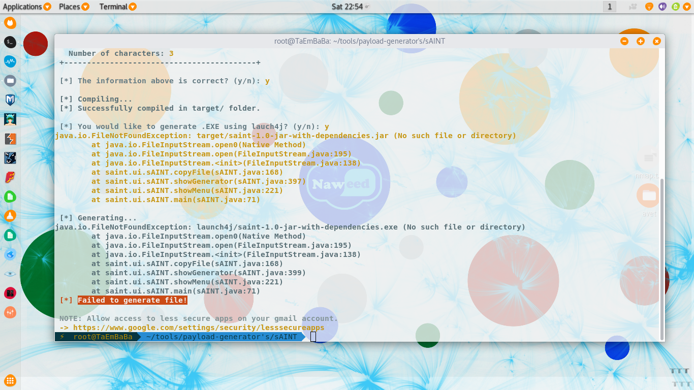 Failed to generate file! · Issue #4 · tiagorlampert/sAINT