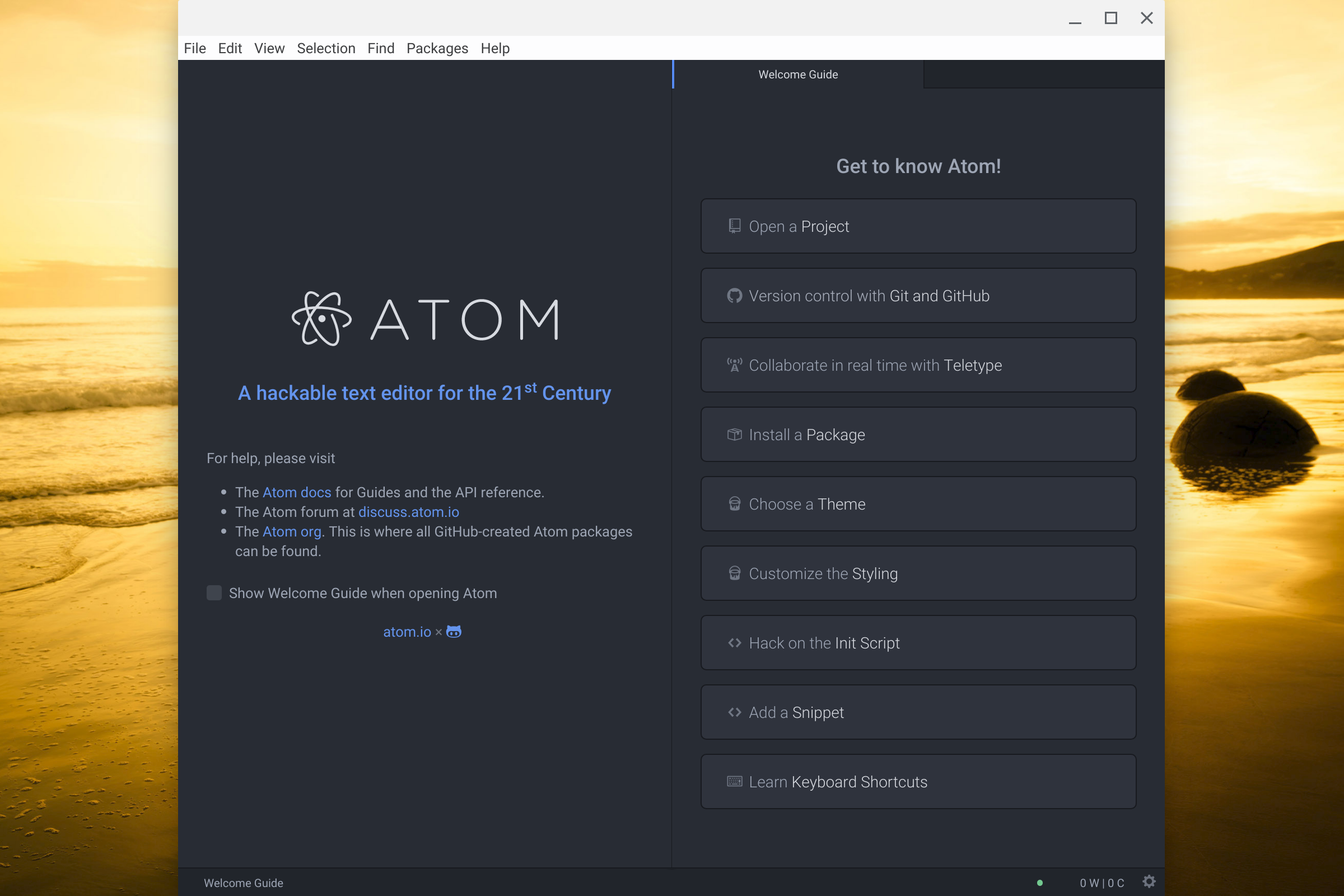 Screenshot of Atom on Chrome OS