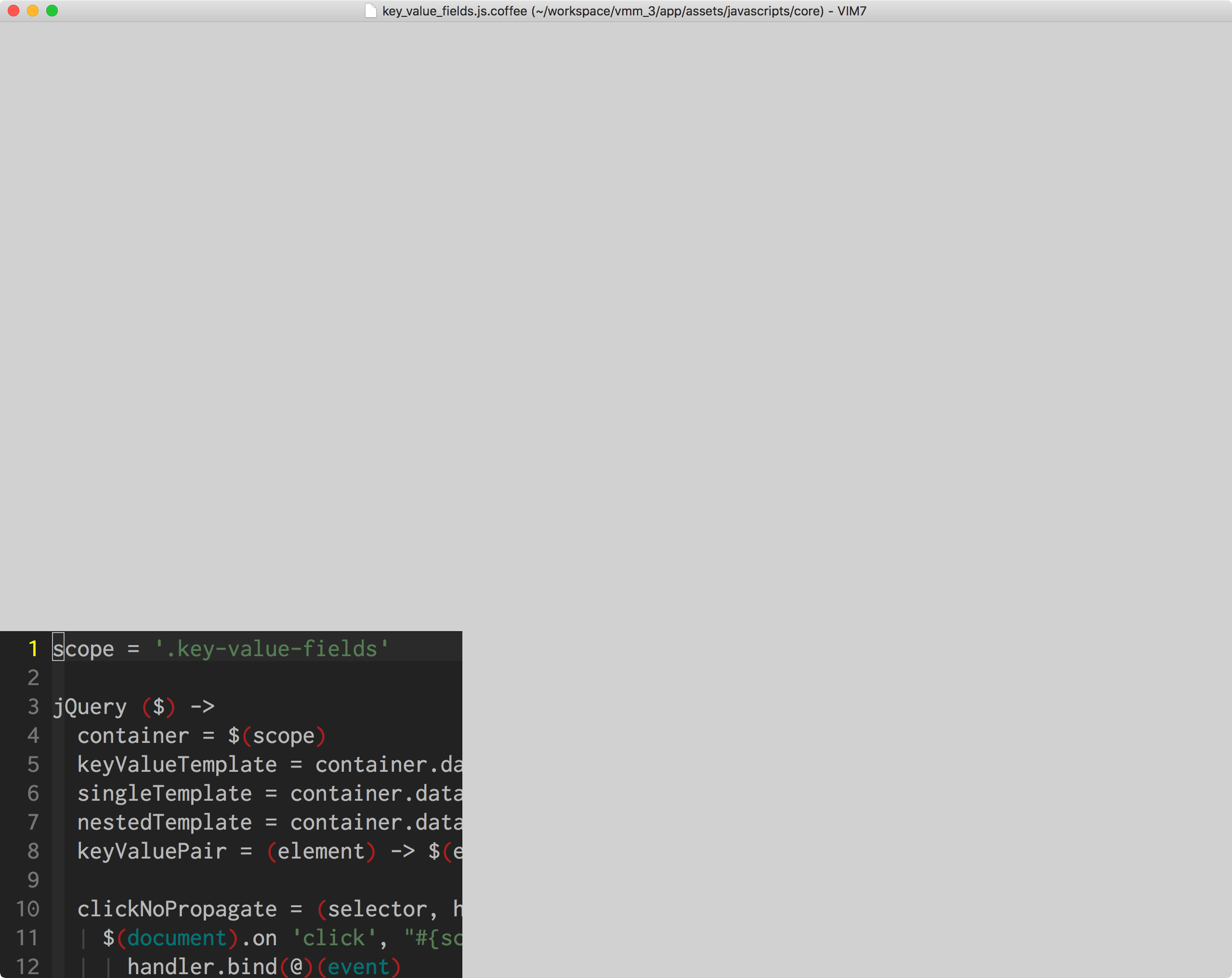 3/4 of window is gray until resize · Issue #728 · macvim-dev
