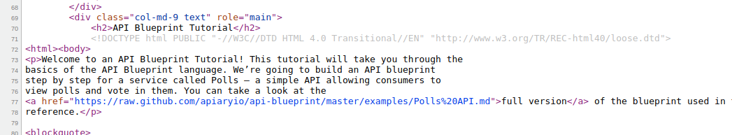 Official website defined doctype twice issue 415 apiaryioapi this tutorial will take you through the basics of the api blueprint language were going to build an api blueprint malvernweather Choice Image