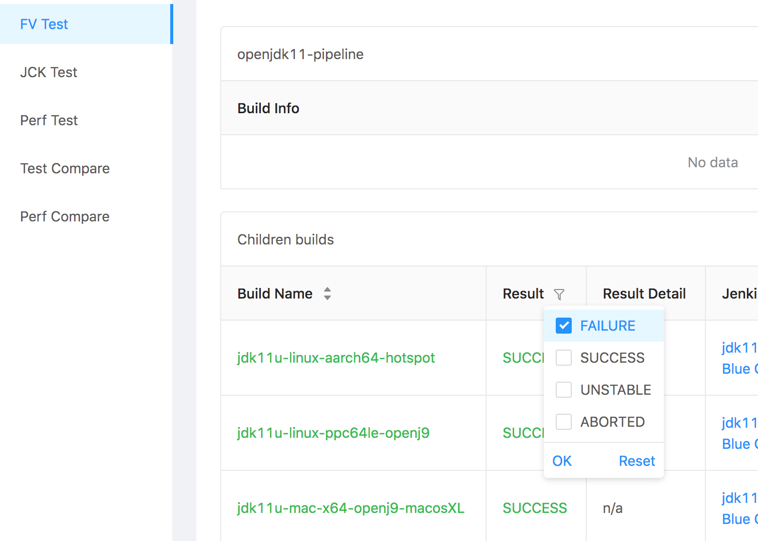 Filter by result in job list view seems broken · Issue #55