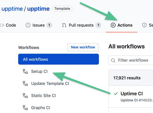 Screenshot of Workflows tab