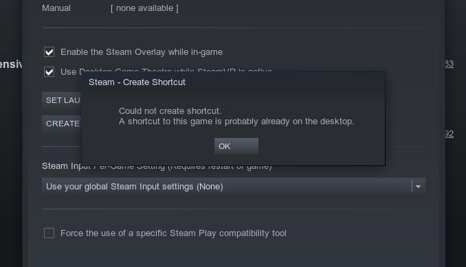 Steam does not create desktop shortcuts and start menu