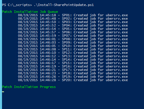 Image of Progress for Install-SharePointUpdate.ps1