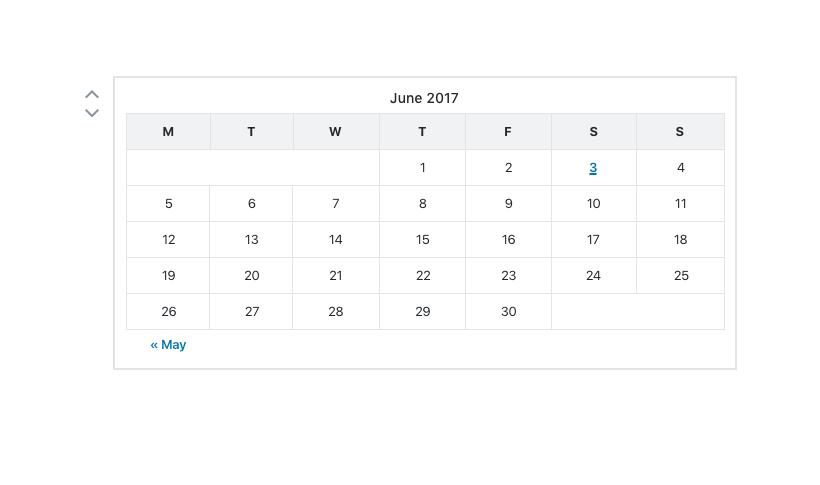 calendar block selected