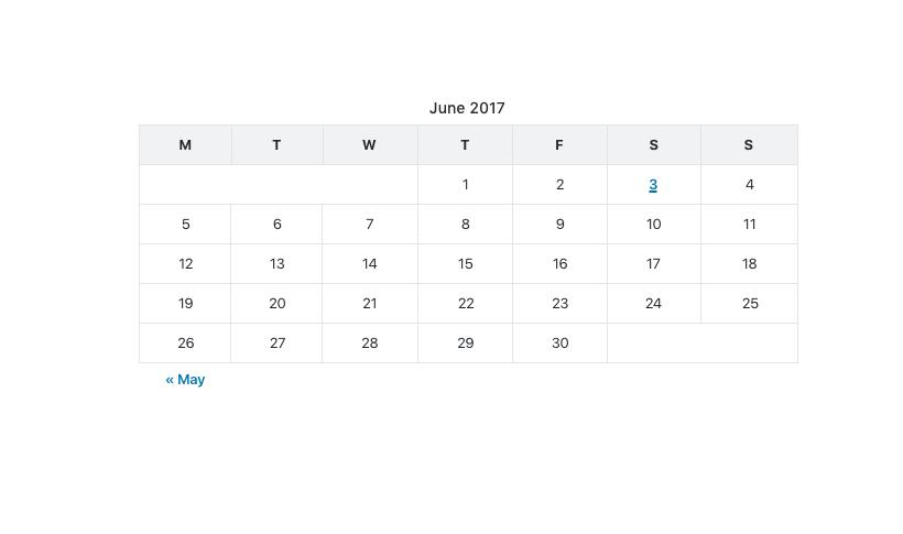 calendar block unselected