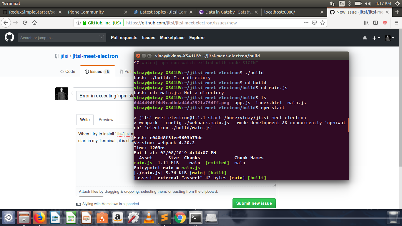 Error in executing 'npm start ' in my terminal  · Issue #161 · jitsi