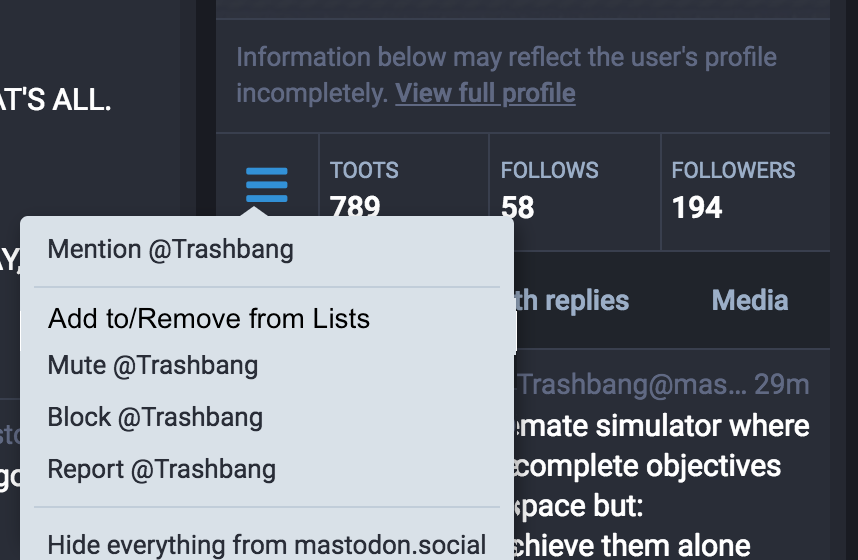 mastodon add to remove from lists thru profile