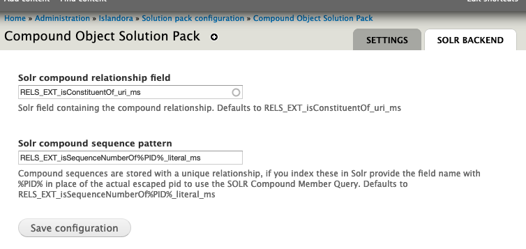 Solr Backend Configuration
